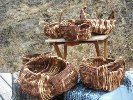 A selection of cedar gathering baskets