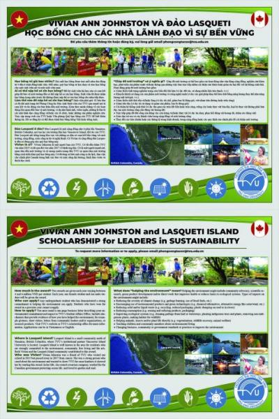 Poster for the Vivian Ann Johnston and Lasqueti Island Scholarship for Leaders in Sustainability Award