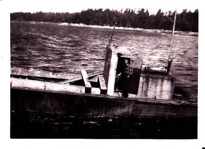 Gordon Smith on Dick Smith's barge (no relation), False Bay 1951-52