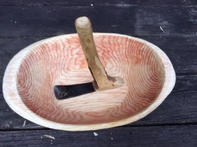 Carving a salad bowl with an adze
