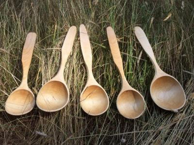 Hand carved maple serving spoons