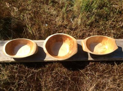 Assortment of salad bowls carved with adzes.