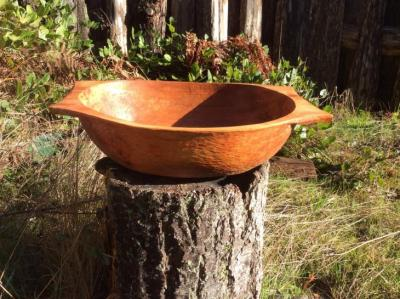 A  large Hand carved alder salad bowl.