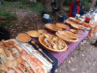 wooden bowls and spoons at the Saturday market!