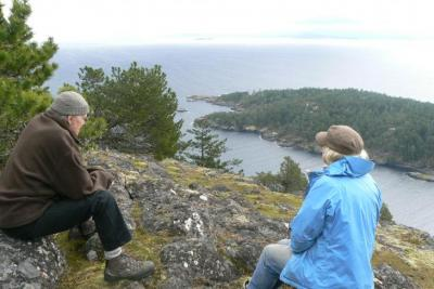 Al and Sheila looking over Jenkins Island