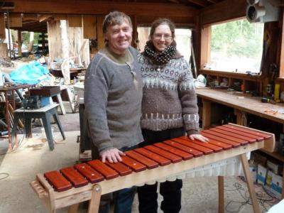 Rejeanne's newly built marimba - Don's workshop