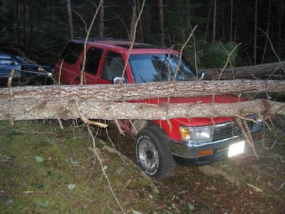 "What happens when you move your truck to a ""safe place"" on Lasqueti!"