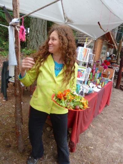 valeria eats her greens at the market