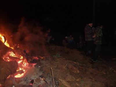 Keeping warm at the 2011 Solstice Bonfire at Morgan & Kathy's
