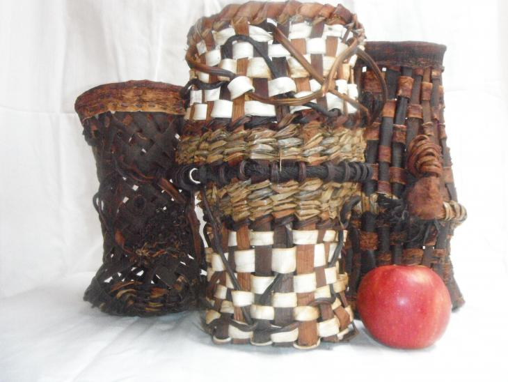 Some examples of mixed-media baskets